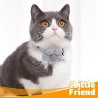 Collar Kalung Aksesoris Kucing Motif Bunga Matahari Bahan Cotton Plus