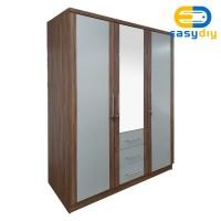 Lemari Pakaian 3 Pintu Dengan Cermin dan Laci LEWIS - easydiy