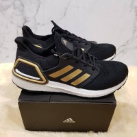 Sepatu Adidas Ultra Boost 20 Black Gold Sneakers Man Premium Original