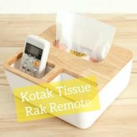 Kotak Tissue Box Wadah Tempat Tisu Dan Rak Remote Smartphone Pensil
