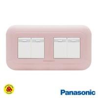 Panasonic Saklar 4G 1W WEJ78049TN + WEJ5531 Sakelar 4 Gang Pastel Pink