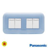 Panasonic Saklar 4G 1W WEJ78049TL + WEJ5531 Sakelar 4 Gang Pastel Biru