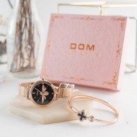 Gold Stainless Woman Watch w/ Butterfly Design | Paket Jam Tangan Gift