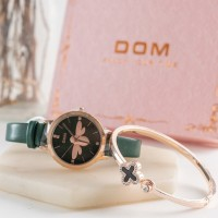 Special Green Leather Woman Clock w/ Butterfly Design Jam Tangan Set