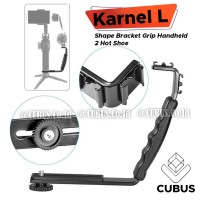Karnel L Shape Bracket Grip Handheld 2 HotShoe Flash MIC Light Vlogger