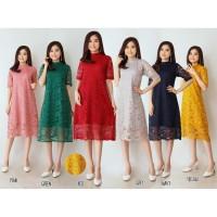 Dress Loli Lace Brukat Tulang Corneli Tebal Dijamin RealPict
