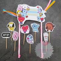 Cake Cupcake Topper Kue Happy Birthday BT21 BTS Custom