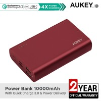 Aukey Powerbank PB-XD12 10000 mAh QC3.0 & Power Delivery Red - 500463