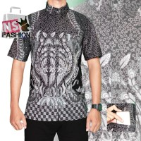 Kemeja Batik Pria Size M L XL XXL Lengan Pendek Katun Abu Alhusayn
