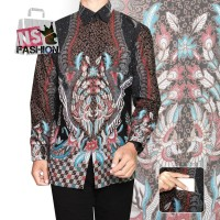 Kemeja Batik Pria Size M L XL XXL Lengan Panjang Katun Abu Alfarizqi