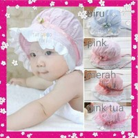 Topi Bayi Anak Perempuan Baby Girl Hat, Best Seller! - Biru Muda
