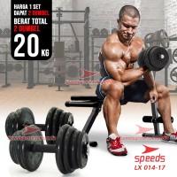 DUMBELL Karet 20kg BARBEL Set Max angkat beban fitness speeds 014-17