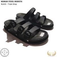 WOMAN STEXEL MODESTA Triple Strap Sandal Wanita Casual Handmade Premiu