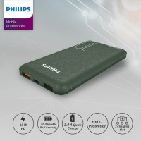 PHILIPS Mobile Power Bank 10,000 MAH DLP7715C PD 18W / QC 3.0 - Green