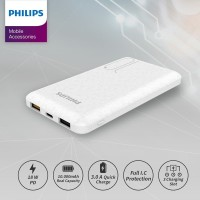 PHILIPS Mobile Power Bank 10,000 MAH DLP7715C PD 18W / QC 3.0 - White
