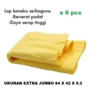 isi 6 pcs Kain Lap Chamois Kanebo Extra Besar XXL Berserat Jumbo 64x32