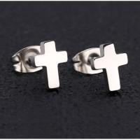 Anting Salib Hitam Pria Wanita Black Cross Earrings Titanium Steel - silver