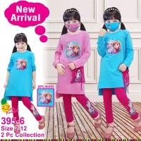 Set tunik aplikasi frozen LP395-6 untuk anak perempuan setara 3-9thn