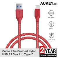 Aukey Cable 1.2M USB 3.1 gen 1 to USB C Braided Red - 500331