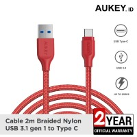 Aukey Cable 2M USB 3.1 gen 1 to USB C Braided Nylon Red - 500280