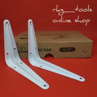 Siku Rak Besi L Putih Uk. 4x5 Inch l Shelf Bracket Harga 1 Pcs
