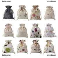 5Pcs Kantung Tas Permen dengan Bahan Kain Goni untuk Souvenir Pesta