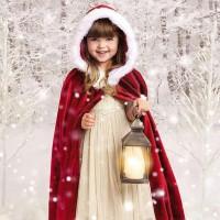 Jubah Hoodie Santa Claus untuk Kostum Cosplay Anak Laki-laki /