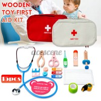 Wooden Toy Doctor Kit Kids Children Medical Role Play 17pc Gift Set