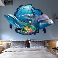 Stiker Dinding 60x90cm Removable Bahan PVC Motif Ikan Lumba-Lumba