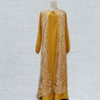 Party Look Fashion Muslim gamis pesta tile brukat brokat - Kuning