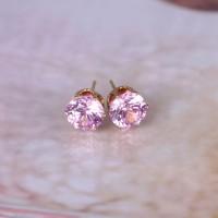 Anting Tusuk Lapis Emas Putih 18K dengan Kristal Zircon Bentuk Bulat