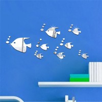 13Pcs Stiker Dinding Desain Ikan Silver Model Cermin untuk Ruang