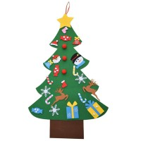 Ornamen Gantungan Dinding / Pintu dengan Gambar Pohon Natal 3D untuk