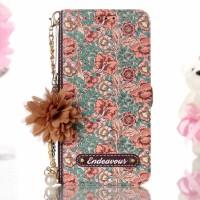 Samsung Galaxy S9 Plus A20 A30 A40 A50 A70 Flip Case Flower Chain Pu