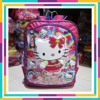 Tas Ransel Anak Motif Emboss Hello Kitty Pink Karakter PAUD/TK/SD