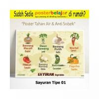 Tipe 01 Poster Belajar Mengenal Sayuran untuk Anak PAUD TK SD Laminasi