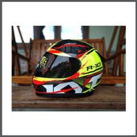 Helm KYT R10 Seri 2 Black Yellow Fluo Ongkir 2kg