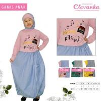 CLEVANKA - Gamis Anak Perempuan / Pakaian Muslim Anak Perempuan 4066 - Kuning