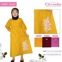 CLEVANKA - Gamis Anak Perempuan / Pakaian Muslim Anak Perempuan 1050 - Kuning, 3-4 tahun