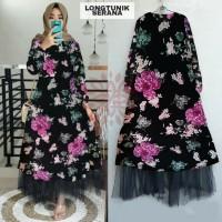 Long Tunik Serana Dress Floral Terbaru Tunik Floral Tunik Motif