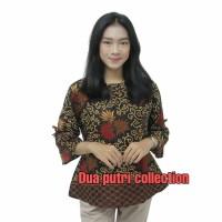 Batik Wanita Atasan Blouse Model Lengan Terompet Size Semi Tunik