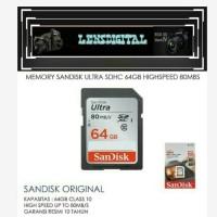Memory Sandisk Ultra SDHC 64GB High Speed 80MBs-Memory Kamera SD Card