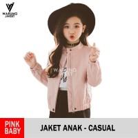 Jaket Anak Kulit Sintetis Baby Pink WJS156 Kids Jacket - S
