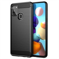 Armor Carbon TPU Case Samsung Galaxy A21S - Casing Black Soft Cover
