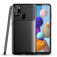 Carbon II TPU Case Samsung Galaxy A21S - Casing Black Soft Armor Cover