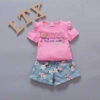 setelan baju anak sabrina Import, Setelan baju bayi celana bunga