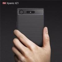 Sony XZ1 Soft Case Casing Sony Xperia XZ1 Carbon Fiber Rugged Armor