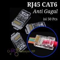 Konektor RJ45 CAT6 Anti gagal 50Pcs Jack Connector kabel lan CAT 6