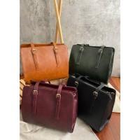 Tas wanita cewek tote bag selempang besar import kulit leather laptop