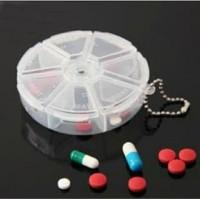 Kotak Obat Bulat 7 Grid Tempat Manik Perhiasan Clay Medicine Box